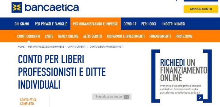 Conto Liberi Professionisti Banca Popolare Etica