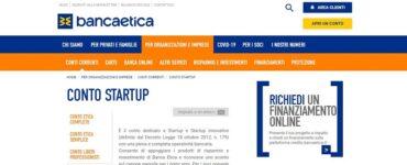 conto startup Banca Popolare Etica