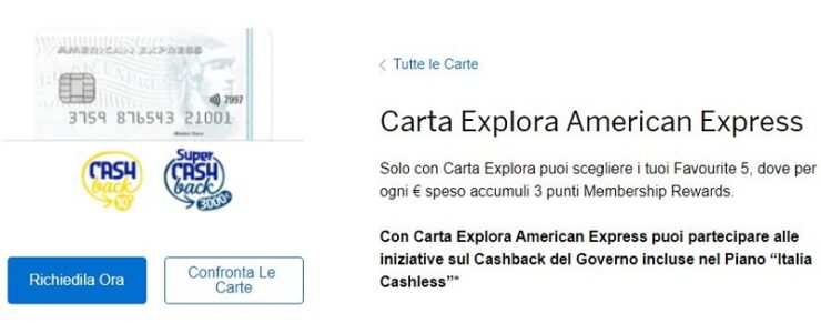 Carta Explora American Express
